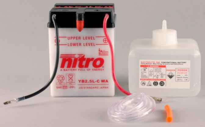 Nitro Accu YB2.5L-C conventioneel met zuur