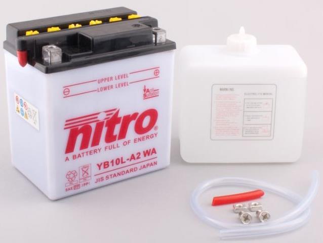 Nitro Accu YB10L-A2 conventioneel met zuur