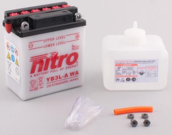 Nitro Accu YB3L-A conventioneel met zuur