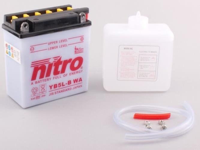 Nitro Accu YB5L-B conventioneel met zuur