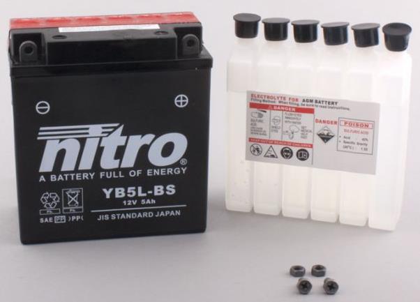 Nitro Accu YB5L-BS conventioneel met zuur