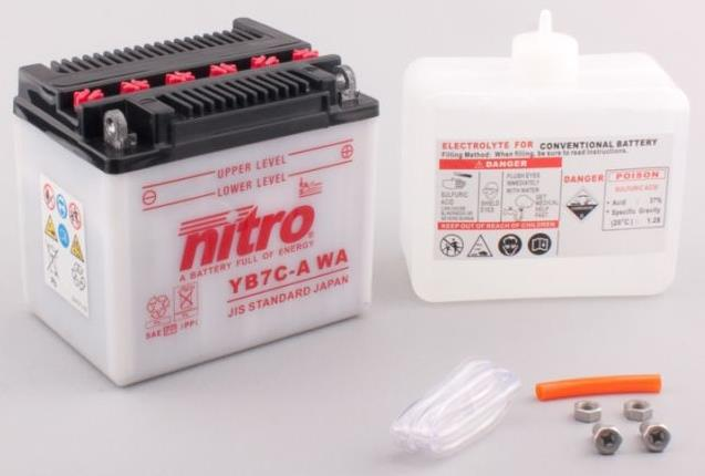 Nitro Accu YB7C-A conventioneel met zuur