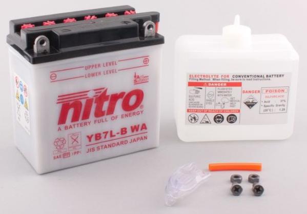 Nitro Accu YB7L-B conventioneel met zuur