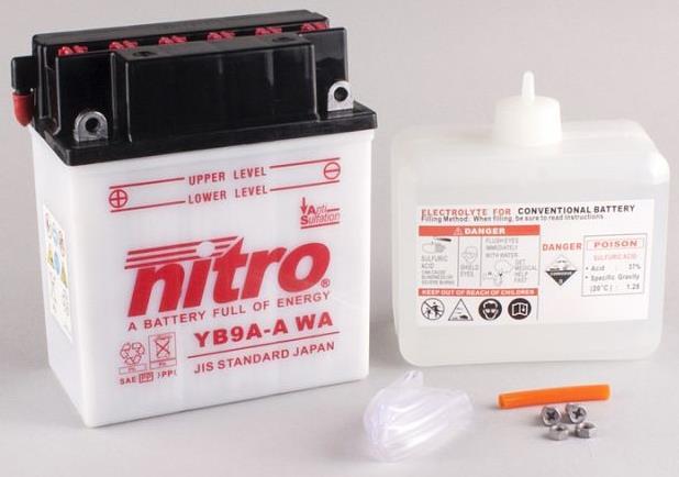Nitro Accu YB9A-A conventioneel met zuur