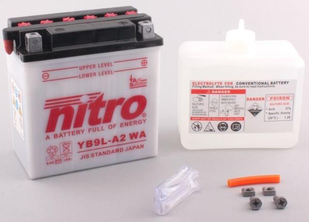 Nitro Accu YB9L-A2 conventioneel met zuur