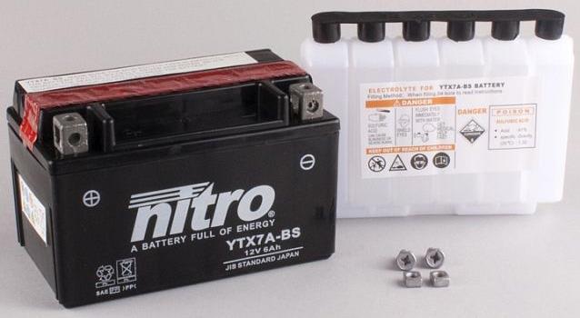 Nitro Accu YTX7A-BS onderhoudsvrij AGM met zuur