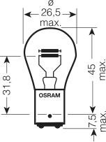 Universele lamp 6V 21/5W BAY15D (10 stk)