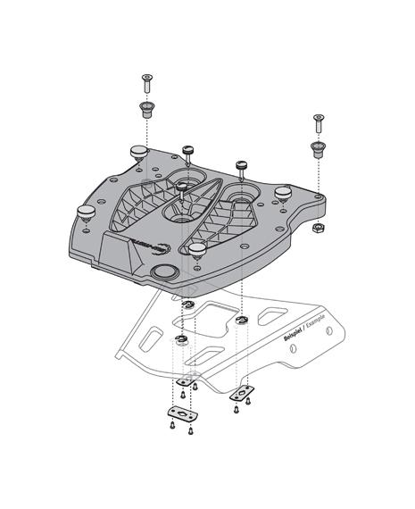 SW-Motech Quick-lock adapterplaat ALU-rack Givi/Kappa/Monokey