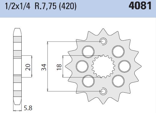 Chiaravalli voortandwiel 14T, 420