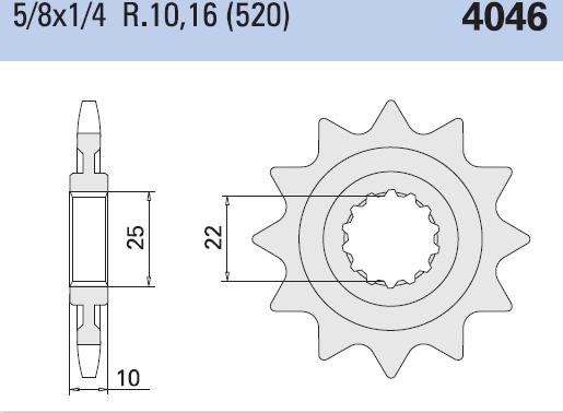 Chiaravalli voortandwiel 14T, 520