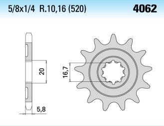 Chiaravalli voortandwiel 13T, 520