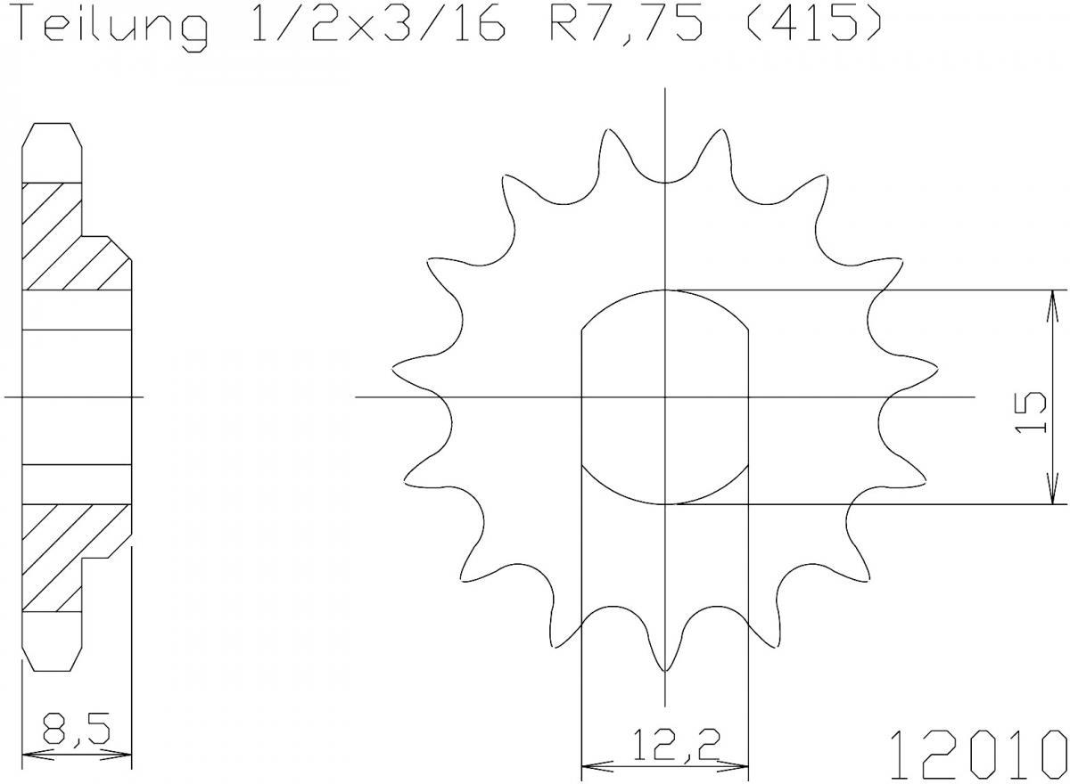 Esjot voortandwiel 10T, 415