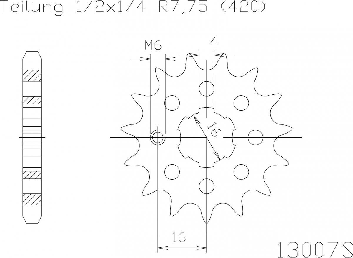 Esjot voortandwiel 13T, LIGHT, 420