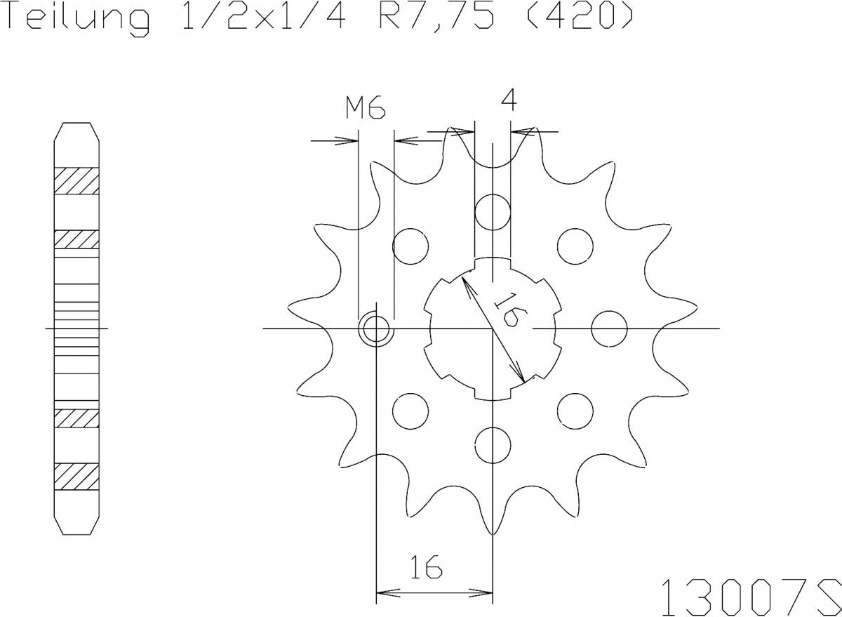 Esjot voortandwiel 14T, LIGHT, 420