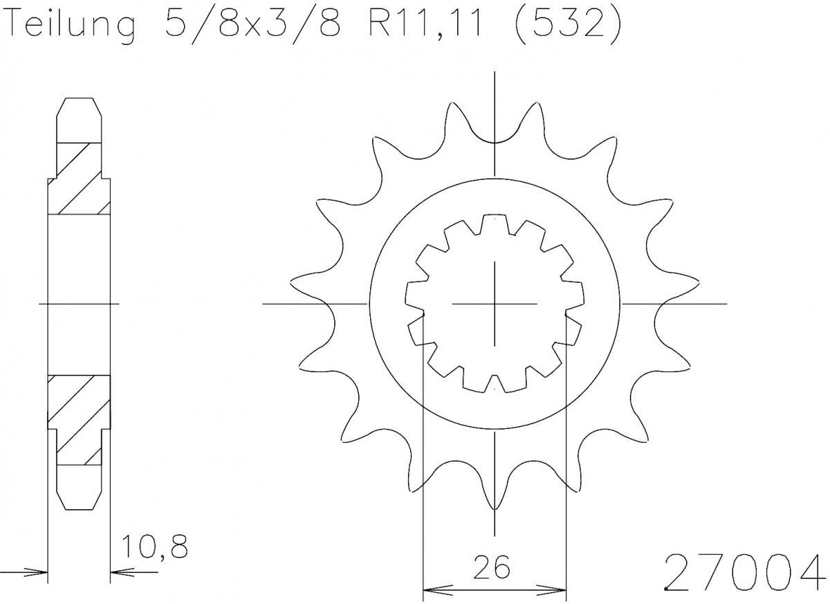 Esjot voortandwiel 17T, 532