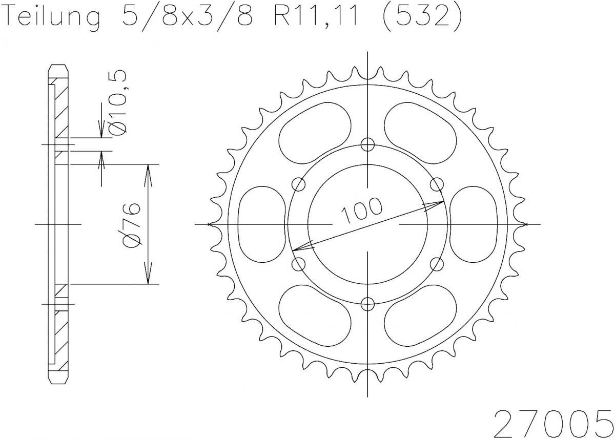 Esjot Staal achtertandwiel 44T, 532