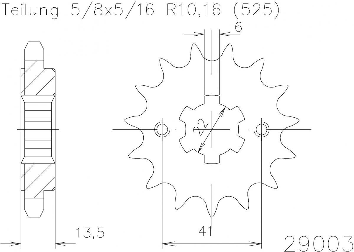 Esjot voortandwiel 15T, 525
