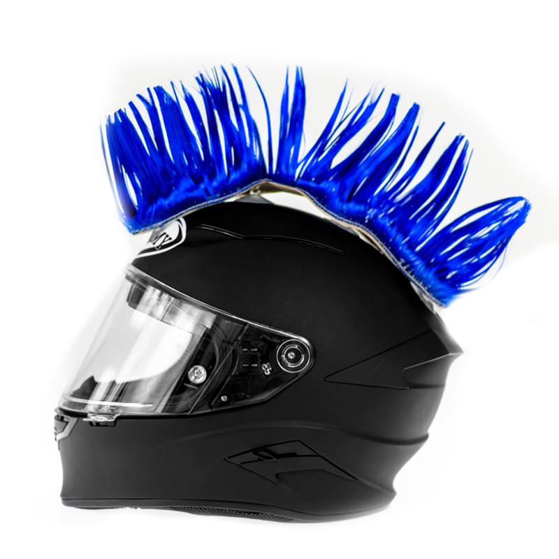 Helm hanekam blauw