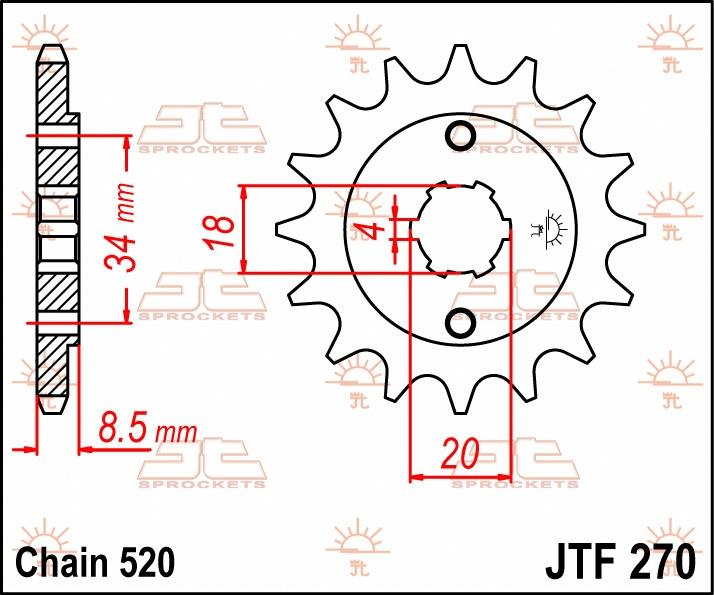 JT Sprockets voortandwiel 14T, 520