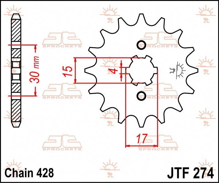 JT Sprockets voortandwiel 14T, 428