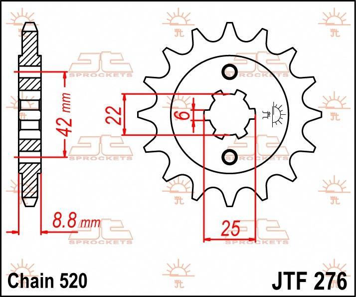 JT Sprockets voortandwiel 16T, 520