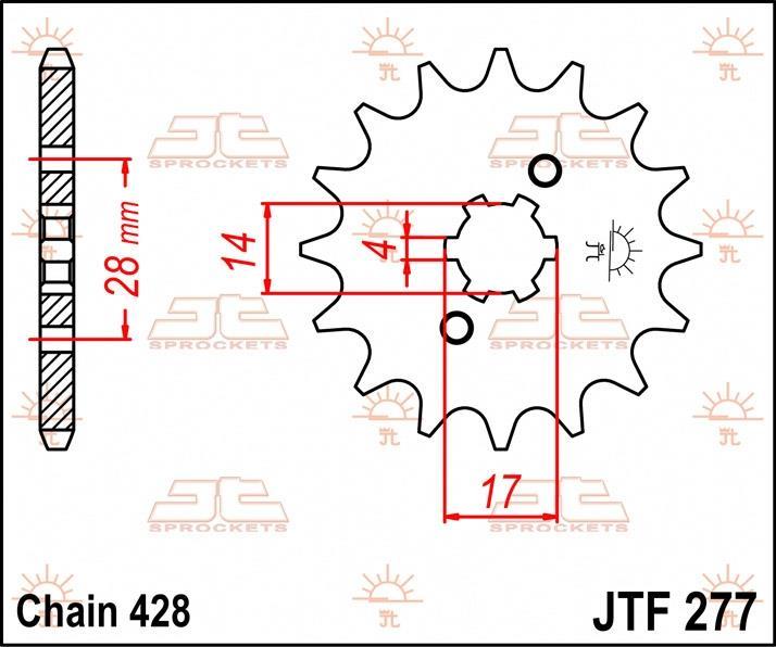 JT Sprockets voortandwiel 13T, 428