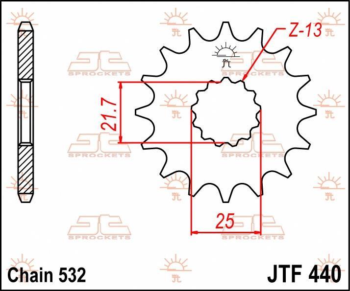 JT Sprockets voortandwiel 14T, 532