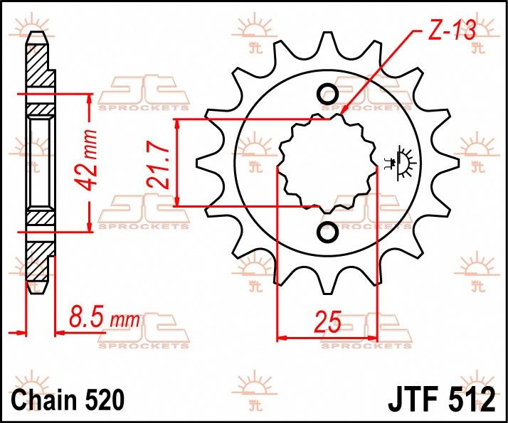 JT Sprockets voortandwiel 17T RB, 520