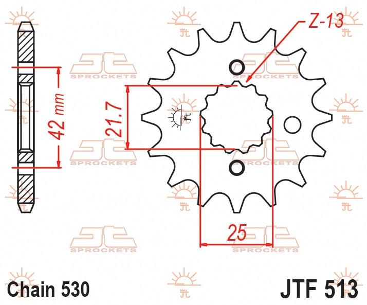 JT Sprockets voortandwiel 14T, 530