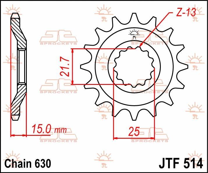 JT Sprockets voortandwiel 15T, 630